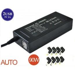 Universal laptop charger 15V-20V auto max 90W 2USB 8 tips