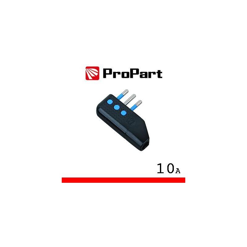 Spina 10A 2P+T uscita cavo 90° nera polybag