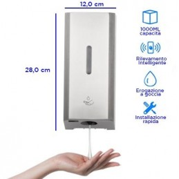 Dispenser automatico in alluminio a muro - 1 LT