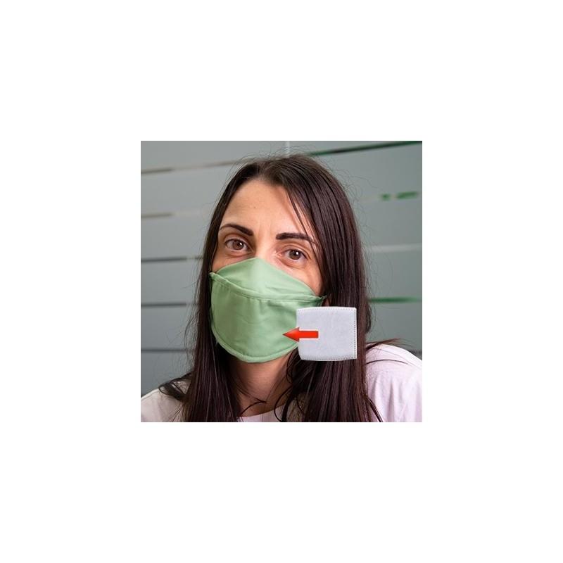 Mascherina in cotone lavabile Porta-Filtro Verde Chiaro TG:M