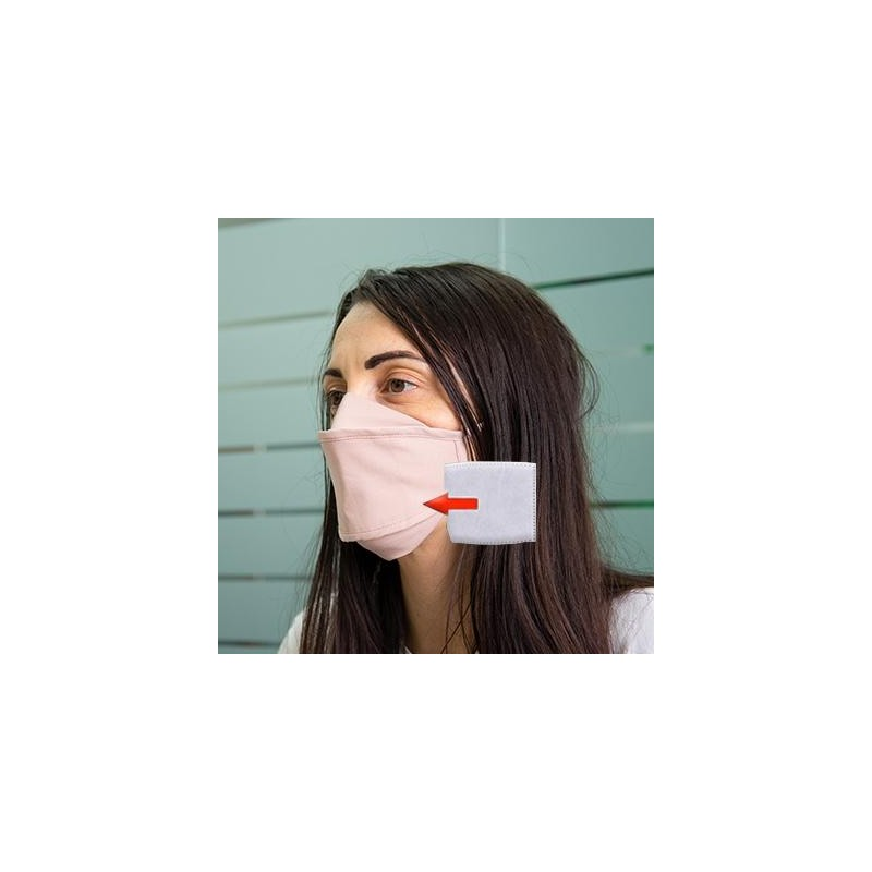 Mascherina in cotone lavabile Porta-Filtro Rosa TG:L