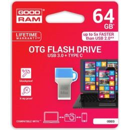 GoodRAM 64GB USB 3.0 + type C DUALDRIVE con cappuccio blu