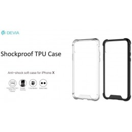 Cover Devia Shockproof in TPU Flessibile per iPhone X Nera