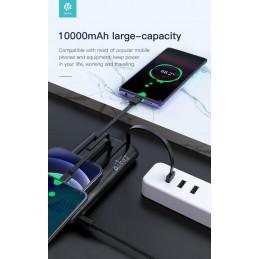 Powerbank 10.000 mAh con cavi Micro-Lightning-Tipo-C Nero